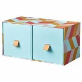 ЛАНКМОЙ Мини-комод с 2 ящиками, голубой, разноцветный, 26x12 см