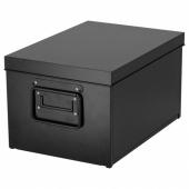 МАНИКК Коробка с крышкой, черный, 25x35x20 см