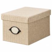 КВАРНВИК Коробка с крышкой, бежевый, 18x25x15 см