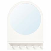 САЛТРЁД Зеркало с полкой и крючками, белый, 50x68 см