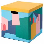 ТЬЕНА Коробка с крышкой, желтый, 30x30x30 см