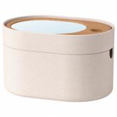 САКСБОРГА Коробка с зеркальной крышкой, пластик пробка, 24x17 см