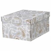 СМЕКА Коробка с крышкой, серый, с рисунком, 26x32x17 см