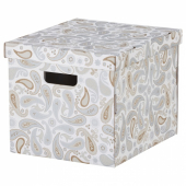 СМЕКА Коробка с крышкой, серый, с рисунком, 33x38x30 см