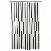 КИННЕН Штора для ванной, белый, черный, 180x200 см
