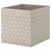 ДРЁНА Коробка, бежевый, точечный, 33x38x33 см