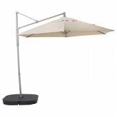 ОКСНЭ / ЛИНДЭЙА Зонт от солнца с опорой, бежевый, Сварто темно-серый, 300 см