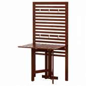 ЭПЛАРО Настенная панель+садовый стол, коричневая морилка, 80x62x158 см
