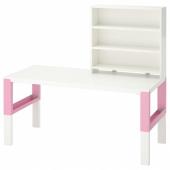 ПОЛЬ Письменн стол с полками, белый, розовый, 128x58 см