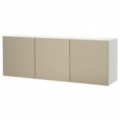 БЕСТО Комбинация настенных шкафов, белый, риксвикен под светлую бронзу, 180x42x64 см