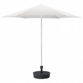 ХЁГЁН Зонт от солнца с опорой, белый, Гритэ темно-серый, 270 см
