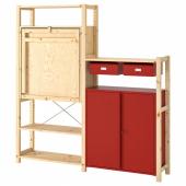ИВАР Стеллаж со столом/шкафами/ящиками, сосна, красный, 175x30-104x179 см