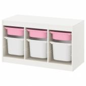 ТРУФАСТ Комбинация д/хранения+контейнеры, белый розовый, белый, 99x44x56 см