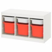 ТРУФАСТ Комбинация д/хранения+контейнеры, белый белый, оранжевый, 99x44x56 см
